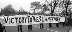 """""""Support the Hunger Strikers"""" and """"Victory to the Blanketmen"""" protest march on 26 October 1980. (Andersonstown News, 1 November 1980, pp.8,9)"""